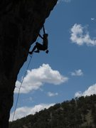 Rock Climbing Photo: Cranking through the lower pockets on Jabberwocky....