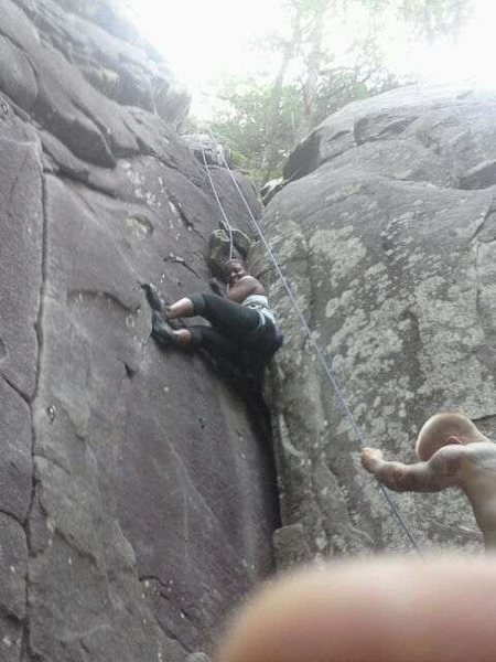 Me climbing at the Lowers at Mt. Yonah.