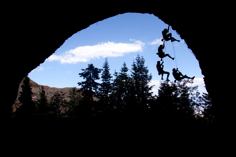 Rock Climbing Photo: View from the back - climber falls on Wake and Bak...