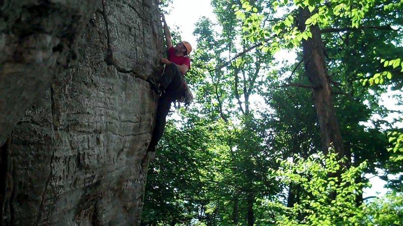 Rock Climbing Photo: Crux move (one way to do it)