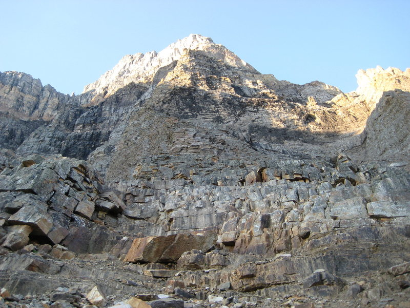 Rock Climbing Photo: The easy scrambling at the base of the Greenwood-J...