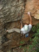 Rock Climbing Photo: Transitioning from the overhang into the vertical.