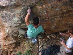 Rock Climbing Photo: Dave Hein demonstrating the proper, brutal start.