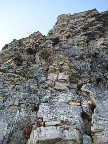 Rock Climbing Photo: Typical rock near the beginning of the route.