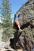 Rock Climbing Photo: On the upper moves of Problem A