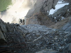 Rock Climbing Photo: Looking down from the traverse pitch.