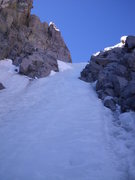Rock Climbing Photo: 23-June-2012: Blue ice at the top of the U-Notch. ...