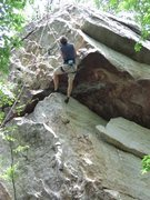 Rock Climbing Photo: Starting the crux of Benny Goodman.  At this point...