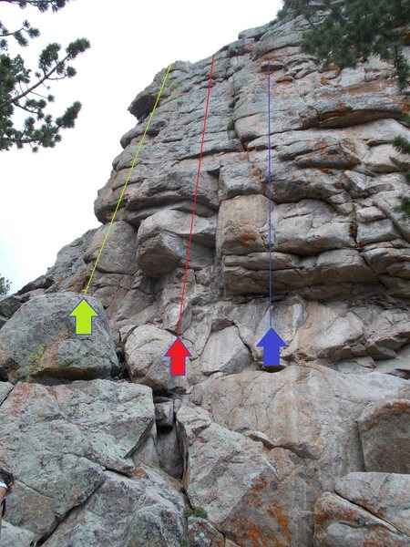 Green =  Beowulf, 11-.<br> Red = Daneland, 10.<br> Blue = Pebble In The Sky, 11+.<br> (All routes are located at the West end of the South face.)