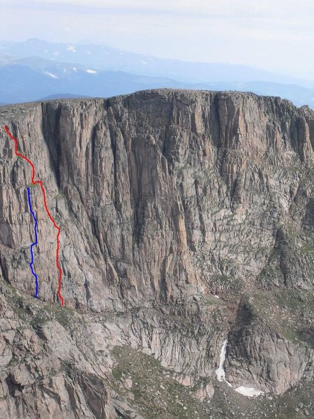 Rock Climbing Photo: The MOAC Memorial Route is in blue with the Annive...