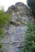 Rock Climbing Photo: Avalanche Buttress 5. Air Blast 5.12b/c 6. Avalanc...