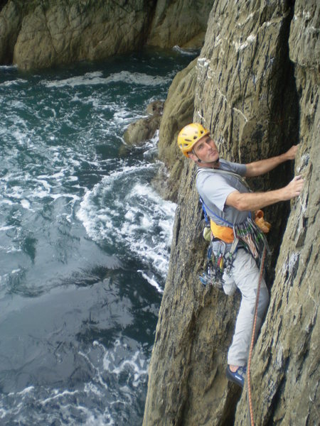"Rock Climbing Photo: Rob starting up Britomartis (""the old man and..."