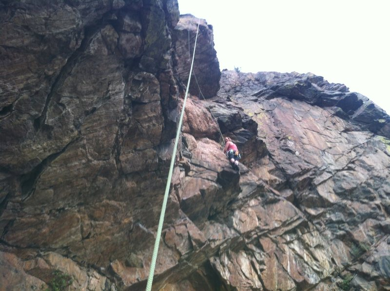 Rock Climbing Photo: Kristin Knudson high on the route.