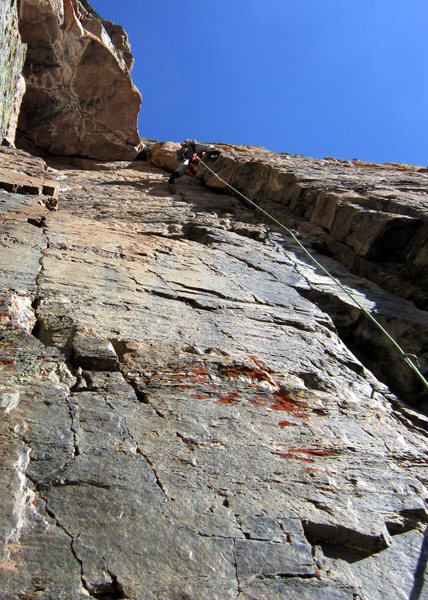 Brent Butler on an undocumented 5.10b variation to Flying Buttress.