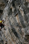 Rock Climbing Photo: Boulder, Co local Curt MacNeill taking the whip on...