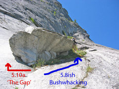 "Rock Climbing Photo: The roof on pitch 13 with ""The Gap."""
