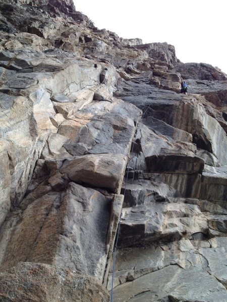 """Rock Climbing Photo: First pitch """"Training Day"""", after the cr..."""