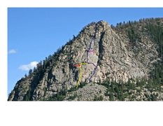 Rock Climbing Photo: Upper headwall with new single variation pitch (ye...
