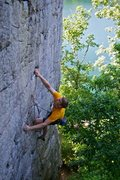 Hot n'Bothered 5.10b on the Long Wall at Summersville Lake. Photo by Doug DiJulio