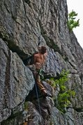 Rock Climbing Photo: Kneebar into the wetness