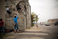 Rock Climbing Photo: Pulling down on the side of a building in Downtown...