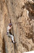 Rock Climbing Photo: Fingery section between 1st and 2nd cruxes on Stor...