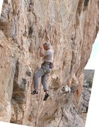 Rock Climbing Photo: Hitting the bucket before the 2nd crux. Bucket lat...