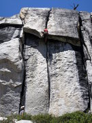 Rock Climbing Photo: Pulling the crux on Penguin Cafe, Murphy Creek. Ve...
