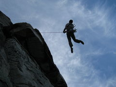 Rock Climbing Photo: The overhanging nature of the route become obvious...