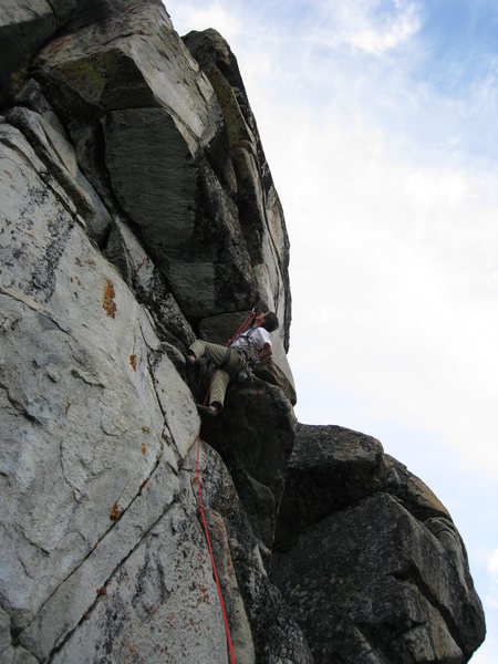 Rock Climbing Photo: Dan moves into the crux
