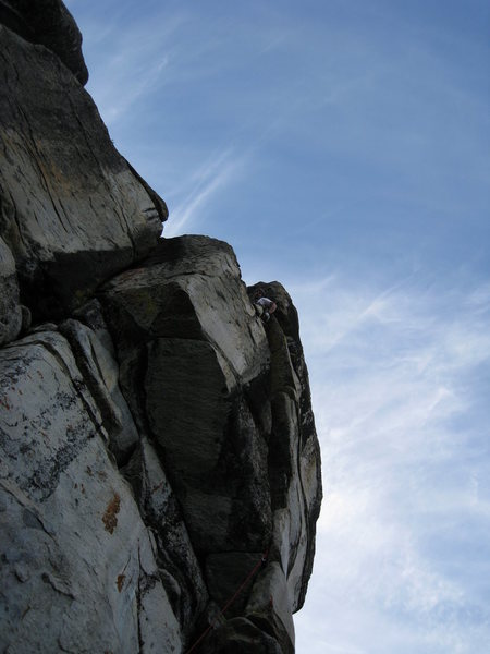 Dan above the crux in the larger chimney.