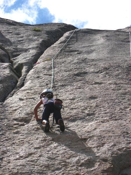 Rock Climbing Photo: Violet, Age 7, cruising up Caifura