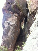 Rock Climbing Photo: The route climbs up the left side of the cave-like...