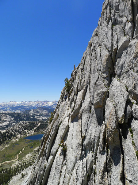 Rock Climbing Photo: Anne (below the tree) on the 5.2 downclimb below t...