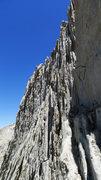 Rock Climbing Photo: 5.7 diagonal crack traverse crux on Matthes