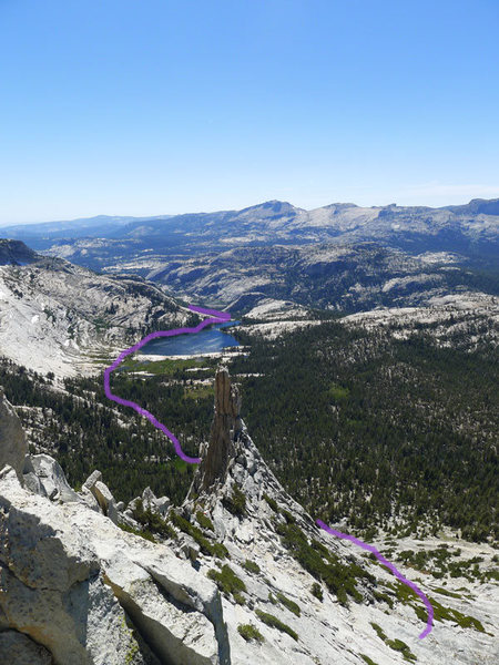 Rock Climbing Photo: Eichorn Pinnacle from Cathedral with descent route...