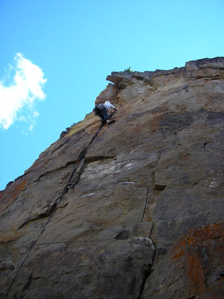 Rock Climbing Photo: The first attempt at an ascent.  I got to the last...