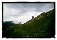 Rock Climbing Photo: the Spires (middle on left, upper on right) from o...