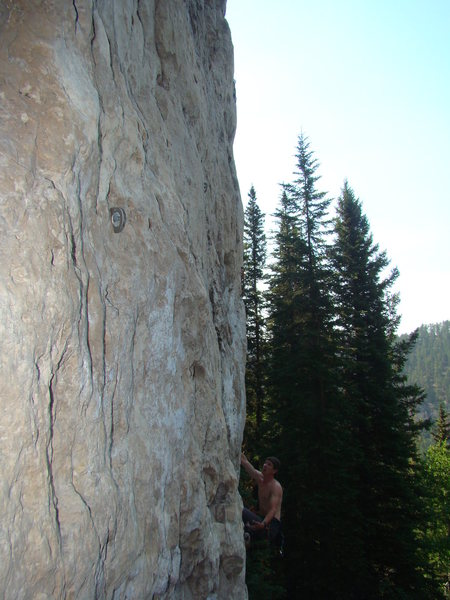 Rock Climbing Photo: Reggie sizing up Mister Fister, 5.11a.
