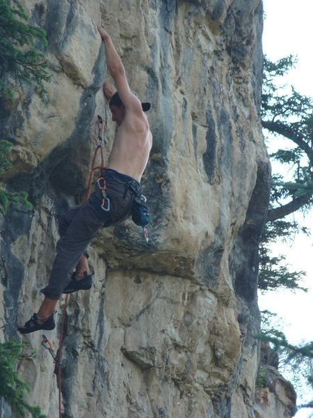 Reggie gets freaky with Mister Fister, 5.11a.<br> <br> Dark Side, Spearfish Canyon.