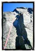 Rock Climbing Photo: Heading into the 1st crux.  Definitely the most po...