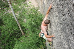 Rock Climbing Photo: Past the jugs, getting thinner