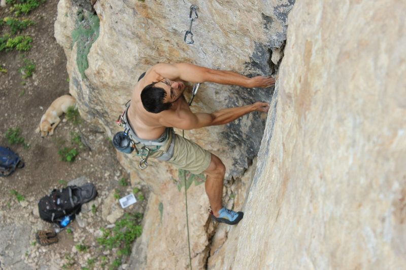 Rock Climbing Photo: Steep dihedral going to underclings. Cool route