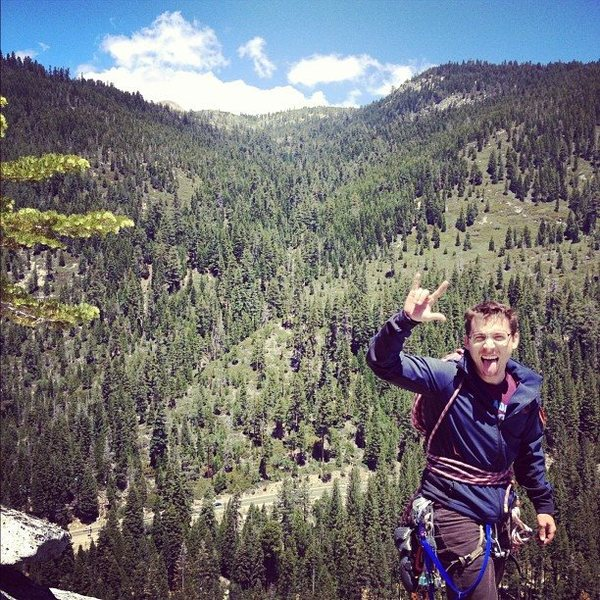 Brian Aitken topped out after a quick run up Knapsack Crack on Hogsback in South Lake Tahoe. Photo by John Zirinsky.