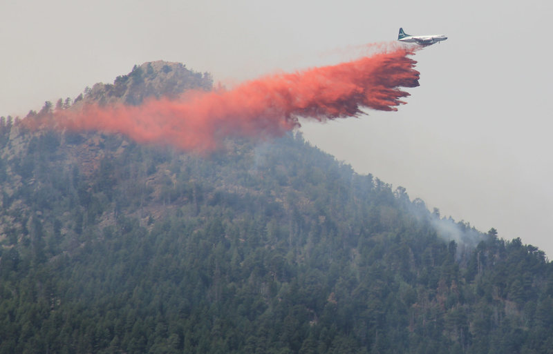 Fern Canyon being saved by fire retardant.