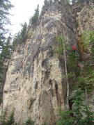 Rock Climbing Photo: Far right side of The Darkside Wall. Climber in re...