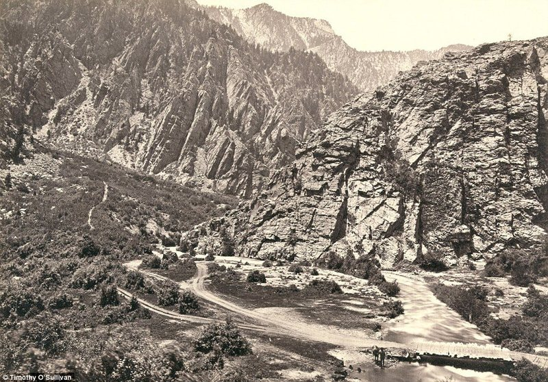 Big Cottonwood Canyon, Utah, in 1869. A man can be seen with his horse at the bottom near the bridge (right). As people in the east came to see O'Sullivan's photographs the legend of the pioneering west as a land of limitless opportunity even for Americans came to form.