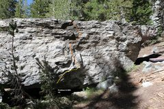 Rock Climbing Photo: Medicine Boulder South Face Topo