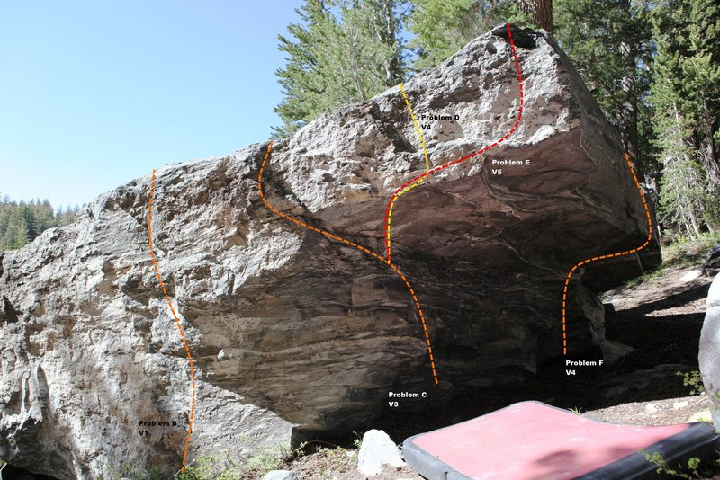 Rock Climbing Photo: Medicine Boulder South East Corner Topo