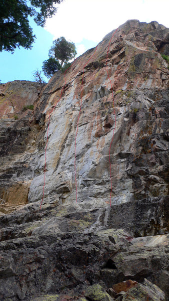 Rock Climbing Photo: (L) Three's a Party, .10d. (M) Technical Difficult...